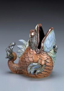 BURSLEM POTTERY  GROTESQUE SPOON WARMER FISH INSPIRED BY MARTIN BROTHERS