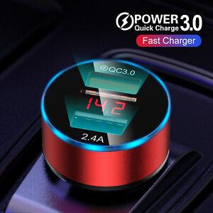 Dual USB Ports 3A Car Cigarette Charger Lighter Digital LED Voltmeter 24V / 12V
