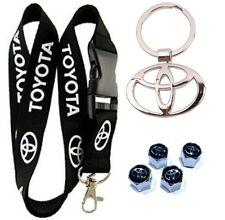 Toyota Gift Set - Black Breakaway Lanyard Metal 3D Logo Keychain Stem Valve Caps