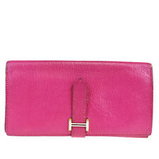 Authentic HERMES Logos Bearn Long Trifold Wallet Purse Leather Pink 66MA934