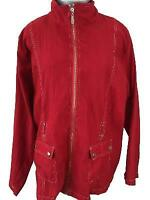 Bonworth jacket size M medium red windbreaker full zip 2 snap pockets polyester