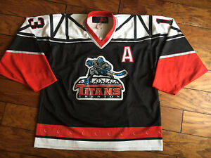 Vintage Trenton Titans Hockey Jersey Mike Hall 13 Autograph Adult Size Large SP