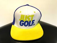 """""""JUST GOLF """" NIKE White Blue Yellow Cap Hat Mesh Snap Back Adjustable - ONE SIZE"""