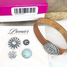 Premier Designs Sandbar Tan Leather Bracelet Charms Turquoise Silver New in Box