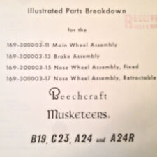 Beech B19, C23, A24 &7 A24R Main Wheel, Nose Wheel & Brake Service Parts Manual