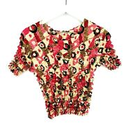 F.C Magic Bubble Popcorn Shirt Crinkle Short Sleeve Blouse Expandable One Size