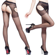 Glossy Classic Suspender Crotchless Sexy Pantyhose Stockings Tights Shiny Sheer