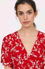 2018 Trend GP & J BAKER X H&M Red Floral Patterned Short Sleeve Tea Dress UK8