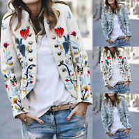 Vintage Womens Winter Blazer Coat Floral Print Jacket Button Casual Outwear Tops