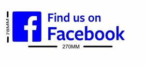 3 X LARGE FIND US ON FACEBOOK VINYL DECAL STICKERS CAR VAN SHOP WINDOW FREE P&P