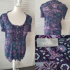 Damen lila/blau Wallis Shortsleeved Bluse UK 16 EUR 44