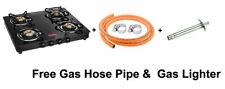 Prestige Black Toughened Glass Top LPG Gas Stove 4 Brass Burners Free Hose Pipe