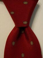 BRITISH AMERICAN HOUSE Men's 100% Silk Necktie ITALY Geometric Red/Yellow EUC