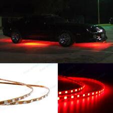 4Pcs Waterproof Red LED Under Car Tube Strip Underglow Body Neon Light Kit Top