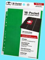 10 ULTIMATE GUARD 18-POCKET GREEN SIDE LOADING Card Pages Storage Sheets Binder