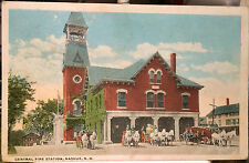 Fire Station, NASHUA, NEW HAMPSHIRE, Post Card 1905-15 Horse Drawn Fire Truck