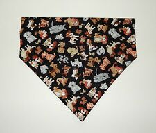 TINY  DOGS ON BLACK DOG SCARF--MEDIUM