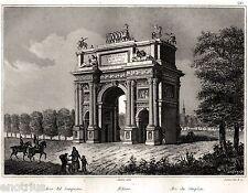 Milano: Arco del Sempione. Audot. Acciaio. Stampa Antica + Passepartout. 1840