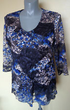 Ladies Womans 3/4 Sleeve Blouse Shirt Top Floral Lined Lace Mirrorswoman Size 18