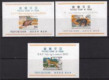 Korea 1966 Animals Set of 3 Souvenir Sheets MNH