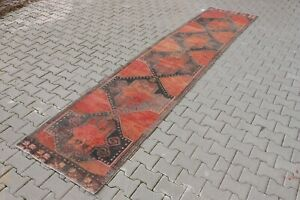 Vintage Turkish Hallway Runner 3x14ft RED Oushak Anatolian Handmade Wool Rug