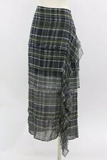 NWT$1775 Brunello Cucinelli 100%Silk Chiffon Tiered Plaid Skirt Size44/ 8US A186