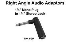 "Right Angle Audio Adapter- 1/4"" Stereo Female to 1/4"" Mono Male - Philmore 529"