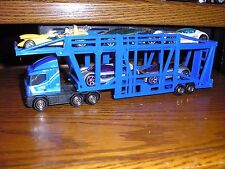 Custom Foreign Cab over SEMI TRUCK Transporter TRAILER CAR CARRIER Blue w 5 CARS