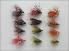 Bobs Bits Fishing Flies, 12 Pack, 4 Colours, Mixed Size 12/14/16, Fly Fishing