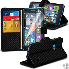 Carbon Fibre Wallet Flip Case Cover, Film & Stylus Pen For Microsoft Lumia 640