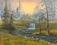Original Landscape Oil Painting Art Decor 16x20 Canvas Bob Ross Style.