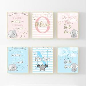 A4 Initial Personalised DUMBO Print Christening Nursery baby Set of 3 Dream Big
