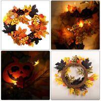 Autumn Maple Leaf Pumpkin Berry Wreath Scary Halloween Front Headwear Door Decor