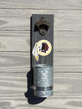 Washington Redskins Wall mounted bottle cap opener Stained wood & galvanized cup