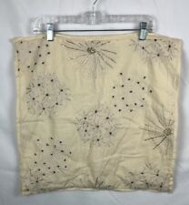 "Pottery Barn Dandelion Flower Embroidered Beaded 20x20""  Pillow Cover Sham"