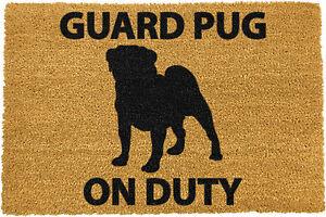 Guard Pug on Duty Coir Doormat Indoor Outdoor