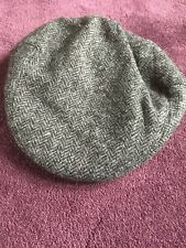 Unworn Moon Herringbone Grey Vintage Style Tweed Peak Flat Cap. Medium.