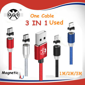 3 IN 1 Micro USB Magnetic Adapter Charger Charge Led Cable  iOS/ Android/ Type C