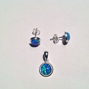 Blue Opal round pendant & 8mm stud earrings set Valentines Day Gift