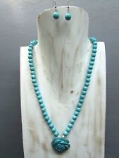 """16"""" Turquoise Necklace Round Beads Rose Pendant with Free Earrings Handmade"""