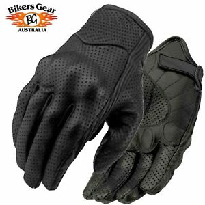 Motorcycle Motorbike Perforated Short Leather Gloves with Knuckle Protection