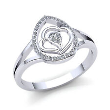 Heart Right Hand Ring 10K Gold Genuine 0.75ct Round Cut Diamond Ladies Shared