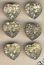 """Beaded Heart on 6-Czech Glass Buttons .501""""-.505""""=12.73mm-12.84mm"""