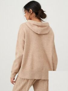 River Island Cable Knitted Hoodie- Beige RRP:£46.99 size: S