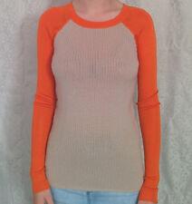 REED KRAKOFF Merino Wool/Silk Contrast8XS6Oatmeal Raglan Baseball Jumper/Sweater