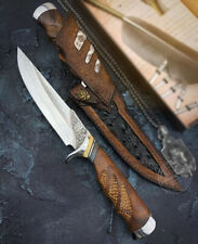 COLLECTIBLE VG10 DAMASCUS STEEL HUNTING KNIFE CAMPING SURVIVAL KNIFE FIXED BLADE