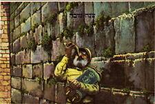 Rare Jewish New Year Postcard IDF Rabbi Shofar Torah Jerusalem Kotel, Israel War