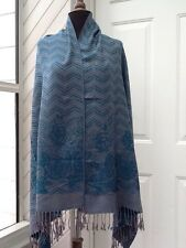 New Shawl / Wrap - Blue And Gray