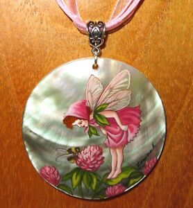 Pendant SHELL RED CLOVER FLOWER FAIRY GIRL Bee Russian Genuine hand painted