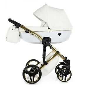 JUNAMA Diamond Individual 3in1 White+Gold NEW Stroller Pram Sportseat FREE SHIPP
